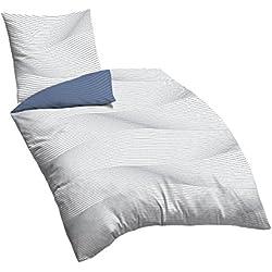 Castell 0600866 Bettwäsche-Set, Baumwoll-Satin nach Öko-Tex-Standard, 80x80 + 135x200 cmx0,3 cm, blau