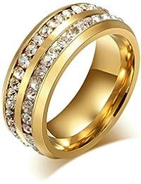 Daesar Joyería Hombre Anillo Compromiso Acero de Oro Dorado Dos Filas con Diamante de Imitacón Anillo