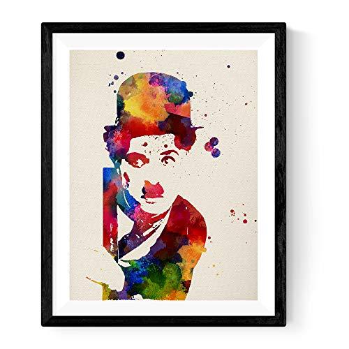 Nacnic Lámina enmarcar Charlie Chaplin Estilo Acuarela