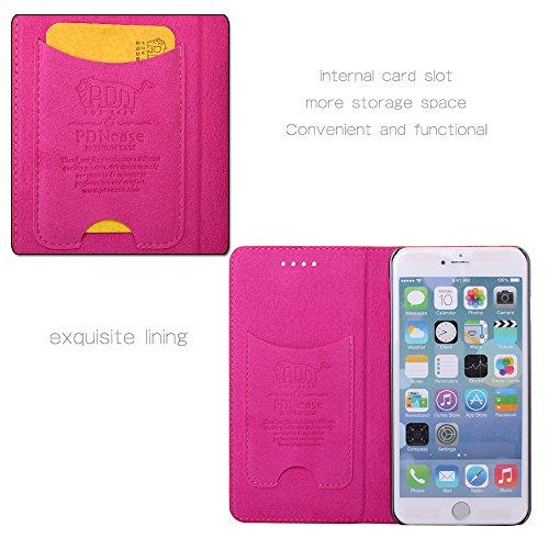 Pdncase iPhone 6 Plus Genuine Leder Tasche Case Hülle Wallet Style Schutzhülle für iPhone 6 Plus Farbe Rot Rose