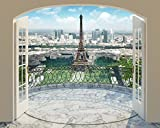 Walltastic Eiffelturm von Paris, Tapete, Wandbild, Paper bunt 12 x 7 x 52.5 cm