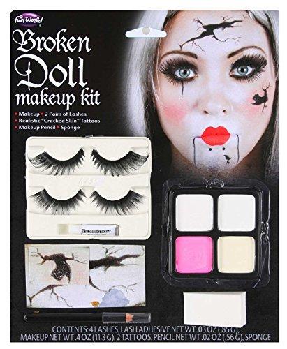 Damen gebbrochen Puppe Make-Up Gesichtsfarbe + Wimpern Halloween Kostüm Kleid Outfit Set Satz (Halloween Puppe Make Up)