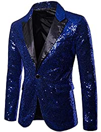 Blazer Kost/üm,Transwen Charm Herren Casual One Button Fit Anzug Blazer Mantel Jacke Pailletten Party Top Gold Pailletten Blazer Anz/üge Jacket Sakkos