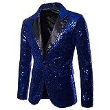 Herren Shiny Pailletten Anzug Multi Farbe und Größe der Männer Hübsche Jacken-Blazer für Nachtklub, Hochzeit, Partei (Medium, Blau)