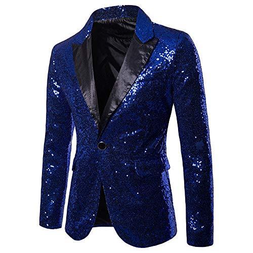 Herren Shiny Pailletten Anzug Multi Farbe und Größe der Männer Hübsche Jacken-Blazer für Nachtklub, Hochzeit, Partei (XLarge, Blau)