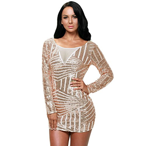 Price comparison product image MEINICE Womens Open Back Long Sleeve Sequin Dress S