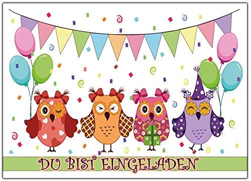 karten Kindergeburtstag lustig bunt Einladung Eule günstig Geburtstagseinladungen Jungen Mädchen zum Geburtstag Kinder gelb blau rot grün Luftballons Du bist eingalden ()