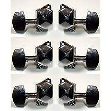Juego 6 clavijas para guitarra eléctrica TS-290 tipo cuadrado, eje liso. IZQ