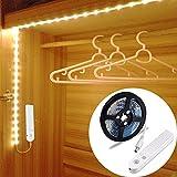 LED Schrankbeleuchtung,LUXJET® 45LED 150cm LED Streifen,BatterieBetrieben Nachtlicht,3500K Warmweiß Bewegungssensor für Kinderzimmer, Schlafzimmer, Küche, Orientierungslicht,Schrank