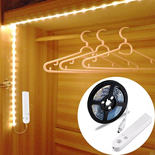 LUXJET® 1.5M Motion Sensor Rope light LED Strip for Cabinet Wardrobe Cupboard Kitchen,Stairs(4 AAA battery Powered,Not included)