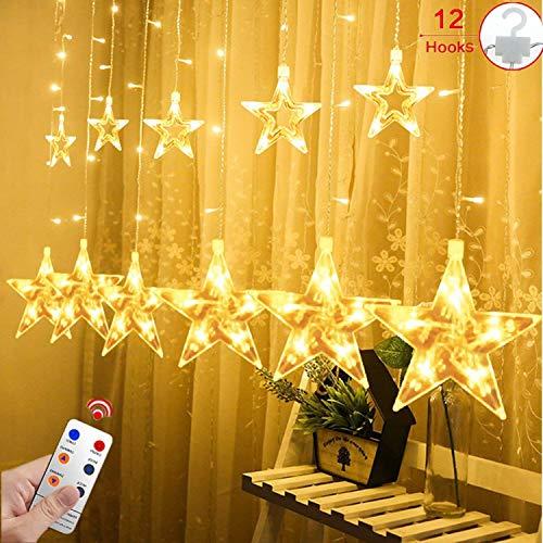 12 Sterne LED Lichtervorhang Lichterkette für Innen/Außen, 2.2x1M Afufu 108LED Sternenvorhang Warmweiß, wasserdicht nach IP65, Fernbedienung mit 8 Leuchtmodi, Weihnachtsdeko für Fenster Garten Zimmer (Für Nägel Halloween-design Die)