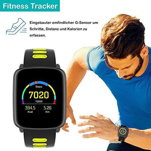 YAMAY Smartwatch Wasserdicht IP68 Smart Watch Uhr mit Pulsmesser Fitness Tracker Sport Uhr Fitness Uhr mit Schrittzähler,Schlaf-Monitor,Stoppuhr,Call SMS Benachrichtigung Push für Android und iOS - 4