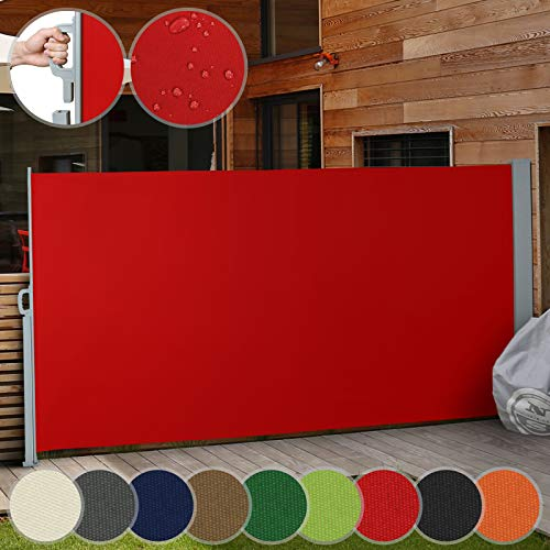 Jago Seitenmarkise Farbauswahl/Größenauswahl (160x300cm, 180x300cm, 200x300cm), für Balkon Terrasse Garten Sonnenschutz Sichtschutz Windschutz, (Rot / 180x300cm)