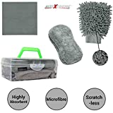 #4: AllExtreme AEFLD14 3 in 1 Car Cleaning Tool Kit Exterior and Interior Wash Supplies with Microfiber Cleaning Cloth, Dual Sided Wash Glove and Sponge with Carry Box (3 Pcs)