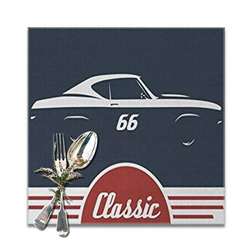 Classic Double Old Fashioned (classic vintage sports car muscle vehicle silhouette old fashioned style Washable Placemats for Dining Table Double Fabric Printing Cotton Place Mats for Kitchen Table Set of 6 Table Mat 12
