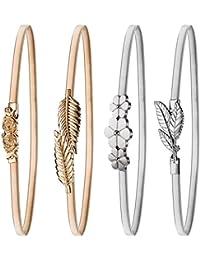 4 Piezas de Cinturón Elástico de Mujeres Cinturón de Hoja y Rosas Florales de Metal Cinturón de Vestido Dorado Plateado Correa de Cintura Broche de Enclavamiento