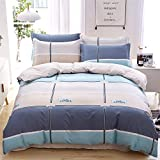 FTCJWL Bedruckt Bettbezug- Gestreiftes Herbst- und Winterbett mit 4 Bettdecken aus Baumwolle, Heimtextilien Bedding-Blue_200 * 230CM-A4