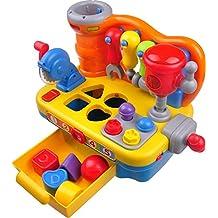 Banco de Trabajo de Juguete Musical para niños pequeños TG653 – Banco de Trabajo Interactivo de juguetes para niños y niñas - Incluye herramientas, sonidos y luces - de ThinkGizmos (marca registrada protegida)