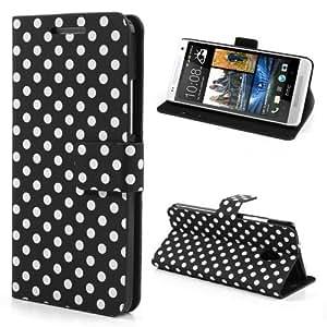 Handytasche Business Case Cover HTC One mini / M4 - STAND BOOK Etui Flip schwarz weiß gepunktet 60-er Jahre