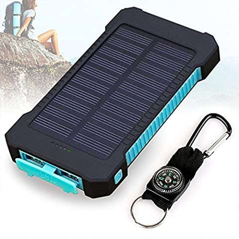 Solar Charger, 10000mAh Solar Power Bank , Dual USB Port Waterproof Dust-Proof and Shock-Resistant Portable Phone Charger with Led Light for Camping Hiking and Other Outdoor Activities (Blue)