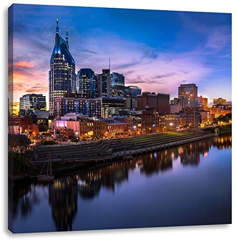 Nashville Skyline Panorama, Format: 40x40 auf Leinwand, XXL riesige Bilder fertig gerahmt mit Keilrahmen, Kunstdruck auf Wandbild mit Rahmen, günstiger als Gemälde oder Ölbild, kein Poster oder Plakat