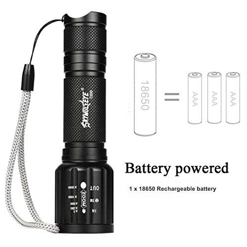 Sky Wolf Eye Taschenlampe Taschenlampe, yoyoug 2x Tactical Taschenlampe UltraFire T6High Powered 5Modi Zoom Aluminium + Akku