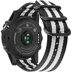 Fintie Correa para Garmin Fenix 3 / Fenix 5X - 26mm Pulsera de Repuesto de Nylon Tejido Banda con Hebilla de Metal para Garmin Fenix 3 / Fenix 3 HR/Fenix 5X Smart Watch Reloj, Rayas Blancas y Negras