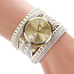 Women's Fashion Rivets Rhinestone Weave Wrap Faux Suede Bracelet Wrist Watch
