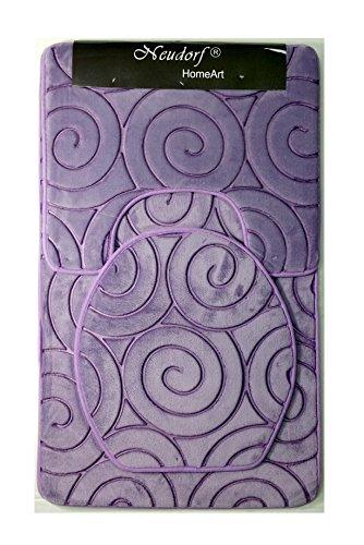 """NEUDORF Home Art 3-teiliges Set """"Royal"""" (lila - Badematte, WC-Deckel und WC-Vorleger mit Ausschnitt)/ samtartiges - super-softes Trittgefühl/sehr pflegeleicht/ feste Struktur (vermeidet Wellen)"""