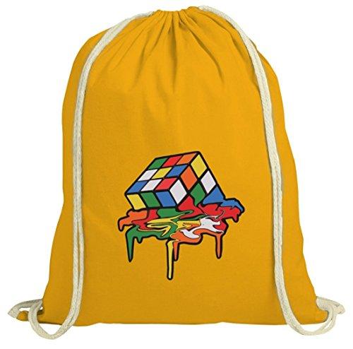 Zauberwürfel natur Turnbeutel mit Magic Cube Melting Motiv von ShirtStreet gelb natur