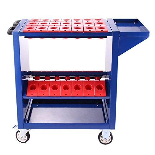 Mophorn Werkzeugwagen 35 Kapazität CNC Werkzeugwagen CAT40 BT40 2 Aufbewahrungsschalen blau (BT40...