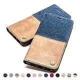 QIOTTI Hülle Kompatibel mit iPhone 8 I iPhone 7 Ledertasche aus Hochwertigem Leder RFID NFC Schutz mit Kartenfach Standfunktion in Denim Cognac