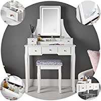 IceCreamLiving Savannah White Dressing Table with Touch Vanity Mirror LED Lights and 5 Drawers Stool Set For Bedroom Makeup Jewellery Storage
