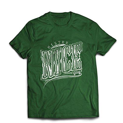 Maglietta da uomo mister nice guy - slogan sarcastico, grafica umoristica, citazioni divertenti - idee regalo fantastiche per lui (medium verde scuro multicolore)