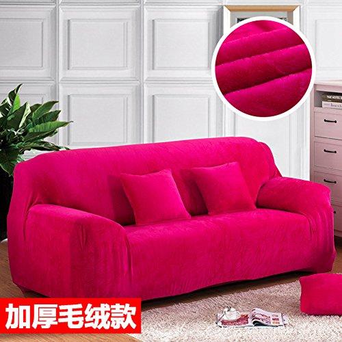 Cooper Dicken Sofa umfasst 1 2 3 4 sitzer Reine Farbe Sofa-Überwürfe Möbel-Protector-samt einfach passen elastisches gewebe Stretch Sofa slipcover -Rose Rot 195-230cm(76.7-90.5in)