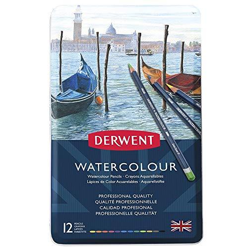 Derwent Watercolour Confezione da 12 Matite Colorate Idrosolubili in Scatola di Metallo