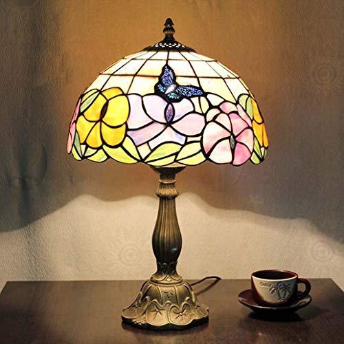 Tiffany-stil-bar (GLMAMK Tiffany-Stil Schreibtischlampe, Rose Design Tischlampe aus Buntglas mit Harzsockel, Schlafzimmer-Nachttischlampe Study Bar Cafe Hotelstudie, Dimmbar)