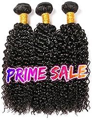 CLAROLAIR brésilien cheveux crepus bouclés cheveux brésiliens tissage bresilien boucle meche bresilienne tissage couleur naturelle (100 +/-5G)/pc (16 18 20pouces)