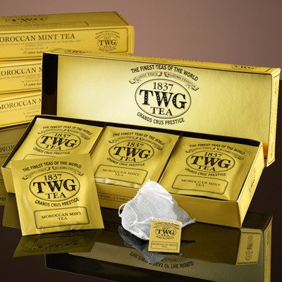 TWG Singapore - The Finest Teas of the World - MOROCCAN MINT - 15 Handnaht Teebeutel aus reiner Baumwolle (Imperial Dragon)