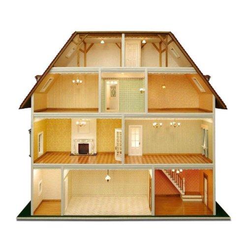 MiniMundus Bauelemente für \'Villa Tara\' z.T. weiß lackiert (Türen, Fenster usw.) für das Puppenhaus Villa Tara