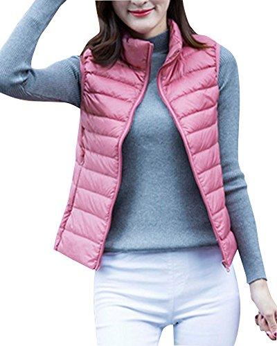 Damen Daunenweste Winterjacke Leicht Duenn Daunen Weste Ärmellos Down Vest Pink L (Ärmellos Rosa)