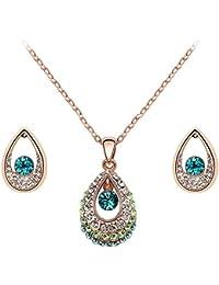 3-teiliges Set - Halskette und Ohrringe mit Tropfen-Anhangern mit Swarovski-Steinen - Lange 47 cm?- verschiedenen Farben