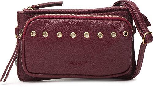 MASQUENADA, Damen Handtaschen, Clutches, Unterarmtaschen, Umhängetaschen, 22x13x3,5 cm (B x H x T), Farbe:Bordeaux (Weinrot)