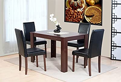 Dover Dark Brown Oak Effect Wooden Dining Table and 4 High Back Chair Set - low-cost UK light store.