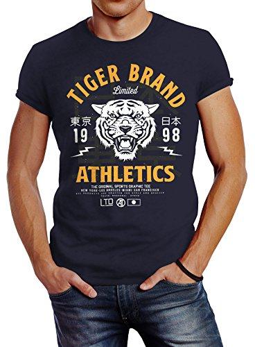 Neverless Herren T-Shirt Tiger Brand Tokyo Supply Japan Athletics Sport Aufdruck Slim Fit Navy-Gelb L - Tiger Athletic T-shirt