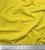 Soimoi Gelb Seide Stoff künstlerische Blumen & Streifen