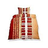 CelinaTex Aqua-Textil 0500127 Living 2-tlg. Bettwäsche 4-Jahreszeiten 155 x 220 cm Mikrofaser Bettbezug Oeko-Tex 2 Teilig Nizza Weiß Orange Rot