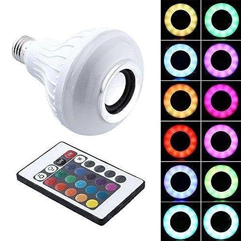H&M Wireless Bluetooth Lautsprecher Birne, E27 12W RGB bunte Glühbirne mit 24 Tasten Fernbedienung