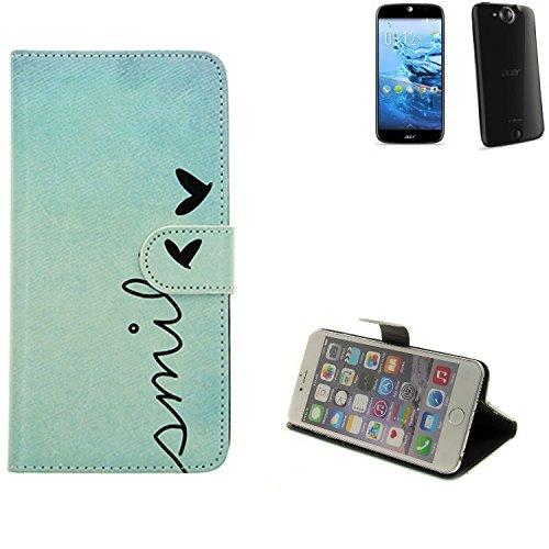 360° Wallet Case Schutz Hülle für ACER Liquid Jade Plus, ''smile'' | Smarpthone Flip cover Flipstyle Tasche - K-S-Trade (TM)