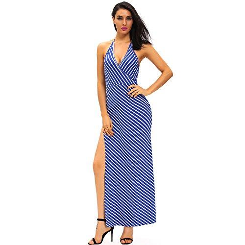 PU&PU Femmes Casual / Sorties / Party Stripes Halter sans manches latérale Slit Maxi robe, dos ouvert blue